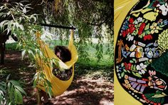 Items similar to Yellow hanging hammock chair with an Indian story on Etsy