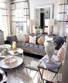 Inspirational ideas about Interior Interior Design and Home Decorating Style for Living Room Bedroom Kitchen and the entire home. Curated selection of home decor products. Glam Living Room, New Living Room, My New Room, Home And Living, Living Room Decor, Living Area, Cozy Living, Living Room Inspiration, Home Decor Inspiration