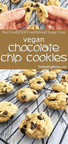 "Simply delicious, ""healthy-ish"" vegan chocolate chip cookies are made using only 9 ingredients, and ready in 20 minutes or less! Vegan Sweets, Vegan Desserts, Vegan Recipes, Vegan Food, Vegan Ideas, Vegan Baking, Healthy Baking, Plated Desserts, Raw Vegan"