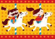 Lovely greeting #card #Circus by Bora from www.kidsdinge.com https://www.facebook.com/pages/kidsdingecom-Origineel-speelgoed-hebbedingen-voor-hippe-kids/160122710686387?sk=wall