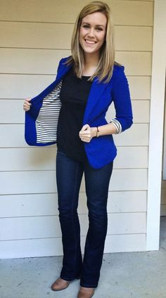 Like this blazer - awesome color and fun. Also LOVE the boot cut jeans (although I& nowhere near that skinny. Like this blazer - awesome color and fun. Also LOVE the boot cut jeans (although Im nowhere near that skinny. Cute Fall Outfits, Summer Outfits, New Trends, Latest Fashion Trends, Bright Blue Dresses, Stitch Fix Stylist, Blazer Outfits, Office Outfits, Sweater Shirt