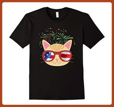 Mens Funny Cat with American Flag 4th of July T Shirt mieo mieo XL Black - Animal shirts (*Partner-Link)