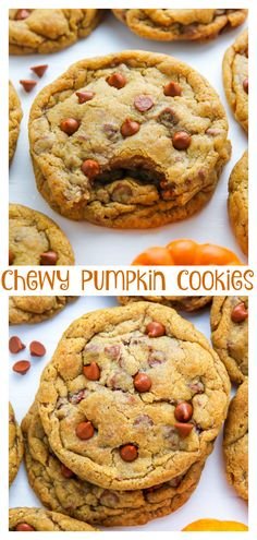 Chewy Cinnamon Chip Pumpkin Cookies - Baker by Nature Fall Desserts, Just Desserts, Delicious Desserts, Yummy Food, Halloween Desserts, Eggless Desserts, Tasty, Italian Desserts, Halloween Cookies