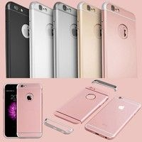 Wish | Luxury Removable 3 In 1 Hard Plastic Case for iPhone 6 6S / Iphone 6 6S Plus / 5S SE Rose Gold Case Transparent Logo Circle Capa