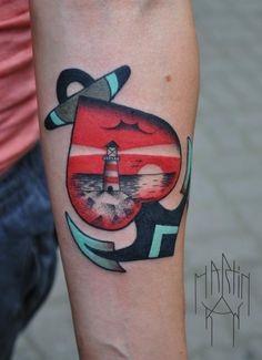 tattoo old school / traditional nautic ink - lighthouse with anchor @ arm (by Marcin Surowiec)