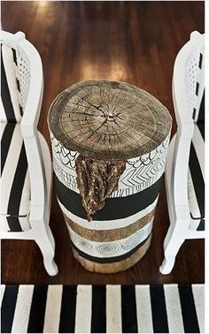Painted Tree Stump Side Table by Divonsir Borges