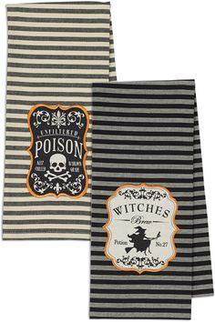 2 Piece Hocus Pocus Witches Brew & Poison Embroidered Dishtowel Set