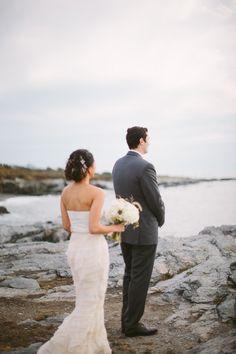First look on the beach: http://www.stylemepretty.com/2014/06/11/modern-coastal-newport-wedding/ | Photography: Adam & Sam - http://cmostr.com/