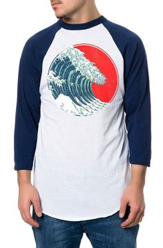 Howie Dew The Hokusai Circle Raglan in Navy and WhiteNavy Sleeves