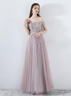 7970d80a1168 In Stock:Ship in 48 Hours A-Line Gray Pink Tulle Appliques Prom Dress With  Pearls