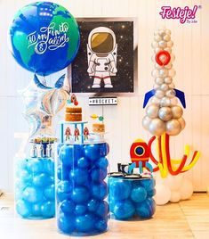 A party that we were so excited to do for . Rocket Birthday Parties, Monster Birthday Cakes, Astronaut Party, Outer Space Party, Childrens Party, Party Themes, Big Balloons, Man Party, Space Theme