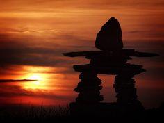 Inukshuk Sunset, Newfoundland, Canada