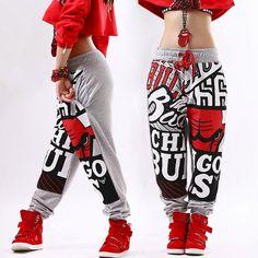 New fashion Adult pants joggers star Sweatpants Pattern Costumes Grey harem Hip hop dance practice pants