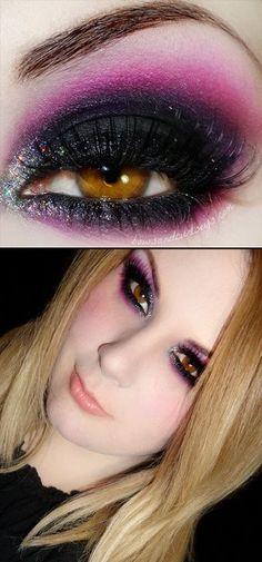 Gorgeous black and pink purple smokey eye with glitter. using Sugarpill Stella, Poison Plum, Dollipop, and Tako. So hot!
