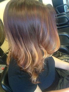 Ombré Balayage Red Brown Blonde hair