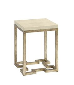 Pearsonu0027s Bunching Table Features An Ivory Faux Shagreen Leather Wrapped  Top Raised On Gilded Iron Legs With A Regency Inspired Fretwork Base.