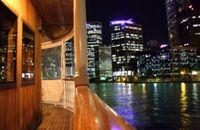Beautiful city views of Brisbane on board the Kookaburra River Queens. River Queen, Brisbane River, New Zealand, Queens, Australia, Lights, Cruises, Paddle, City