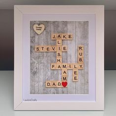 Love this grey wood effect background 💕 #scrabbleframe #familyframe #family #personalisedframe Scrabble Frame, Scrabble Art, Scrabble Tiles, Personalised Frames, Grey Wood, Different Colors, My Etsy Shop, Handmade Gifts, How To Make