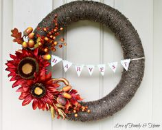 Love Of Family & Home: Fall Wreath With Harvest Bunting {Pool Noodle Wreath}