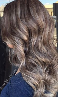 Long Wavy Ash-Brown Balayage - 20 Light Brown Hair Color Ideas for Your New Look - The Trending Hairstyle Brown Hair Shades, Brown Hair With Blonde Highlights, Brown Ombre Hair, Brown Blonde Hair, Light Brown Hair, Brown Hair Colors, Hair Highlights, Brown Hair Balayage, Hair Color Balayage