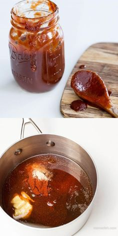 Homemade BBQ Sauce - SO tasty! After trying this BBQ sauce, you will never want to buy another jar of BBQ sauce. Receta Bbq, Do It Yourself Food, Great Recipes, Favorite Recipes, Marinade Sauce, Soy Sauce, Homemade Sauce, Canning Recipes, Love Food