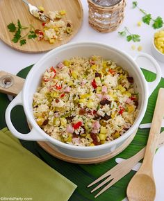 Tropical Savory Rice Recipe - quick, easy and delicious rice recipe that's perfect to serve as a side dish for barbecue and grilled meats! by BirdsParty;com @birdsparty #rice #recipe #summerrice #summerrecipe #sidedish #sides #bbqrecipe #tropicalrecipe #tropicalrice Pork Recipes For Dinner, Side Dish Recipes, Rice Recipes, Vegetable Recipes, Vegan Recipes, Baking Recipes, Cookie Recipes, Fun Easy Recipes, Retro Recipes