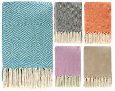 Ideal Textiles, Super Soft Diamond Throw, 100% Cotton, Sofa, Bed, 130cm x 180cm, Beige: Amazon.co.uk: Kitchen & Home