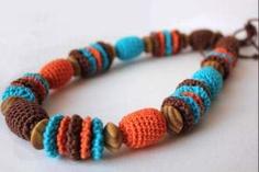 Nursing teething necklace  Crochet necklace brown by designML