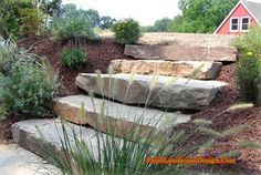 Front yard stone step idea