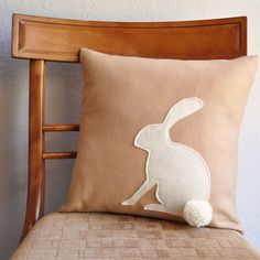 Easter Felt bunny pillow with a fluffy tail in white