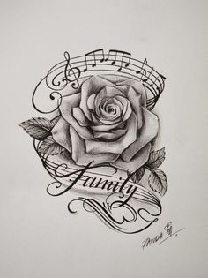 rose music notes and the word family win tattoos tattoo designs - rose tattoo drawing Music Tattoo Designs, Music Tattoos, Body Art Tattoos, New Tattoos, Sleeve Tattoos, Tattoo Ribs, Music Tattoo Sleeves, Skull Tattoos, Tattoo Wolf