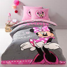 Parure de lit 1 personne housse de couette + 1 taie d'oreiller coton MINNIE