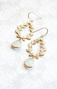 Alice Blue Glass Earrings Gold Bridal Jewelry Leaf Branch Dangle Earrings Bridesmaids Gift Laurel Wreath Chandelier Earring Light Blue Drop