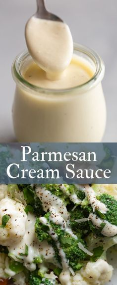 This parmesan cream sauce is so easy to make and is wonderful with vegetables for dinner! Parmesan Cream Sauce - Thick, rich, and creamy, this parmesan cream sauce is the best for dipping breadsticks or serving over vegetables. The Best Burger, Cream Sauce Recipes, Creole Cream Sauce Recipe, Cream Sauce For Pasta, Butter Cream Sauce, Cream Sauce For Chicken, Cream Cheese Sauce, Parmesan Cream Sauce, Garlic Parmesan Sauce