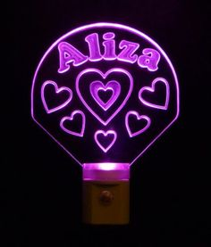 Little #Girls Personalized #Heart Night Light with Colored LED Light #personalizedgift #LED #LOVE
