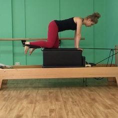 Horse kick on the Reformer is still a challenge for me even after years of practising! It's always difficult finding that balance between not putting too much weight on the hands or leaning too much on the stabilising leg! At the same time there's a constant struggle going on to use the obliques and core to keep the hips square and to avoid arching or 'dumping' into the lower back.