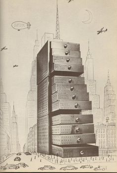 Saul Steinberg - Drawer Building / The Passport - 1954