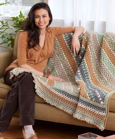 In beautiful muted tones of fall, the Autumn Harvest Striped Throw is just the kind of easy crochet pattern that you've been looking for. Read more at http://www.allfreecrochetafghanpatterns.com/Throw-Patterns/Autumn-Harvest-Striped-Throw#IetxwUDyPfd2OCqE.99