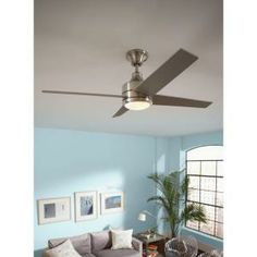 Hampton Bay, Mercer 52 in. Brushed Nickel Ceiling Fan, 14925 at The Home Depot - Tablet