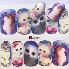 Excited to share this item from my shop: Water Transfer Nail Stickers, Nail Decals, Cat With Butterfly Design, Cat Nail Art, Nail Decoration Cat Nail Art, Cat Nails, Nail Art Stickers, Nail Decals, Nail Store, Transparent Nails, Nail Sizes, Artificial Nails, Nail Decorations