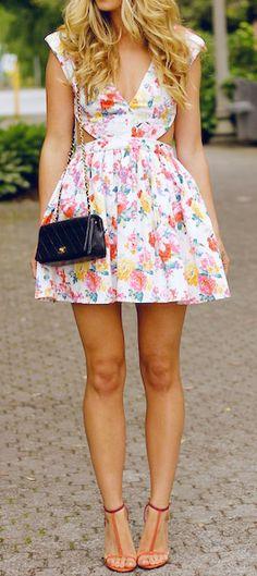 Floral dress & cute heels