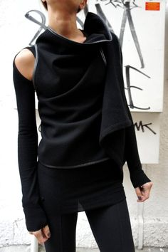 Black Cashmere Sleevless Top / Beautiful coat / by Aakasha on Etsy