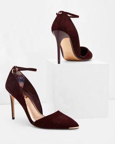 Ankle strap heeled courts - Oxblood | Footwear | Ted Baker UK