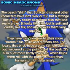 """☆ Sonic Headcanons ☆ — The peach """"skin"""" that Sonic and several other..."""