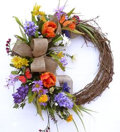 Butterfly Wildflower Crescent Spring Wreath with Burlap Bow WRSP4 : Floral Home Decor, silk rose arrangements, tulip floral arrangements, magnolia silk flower arrangements, tropical arrangements, tropical silk flower arrangements, peony arrangement, sunflower arrangements