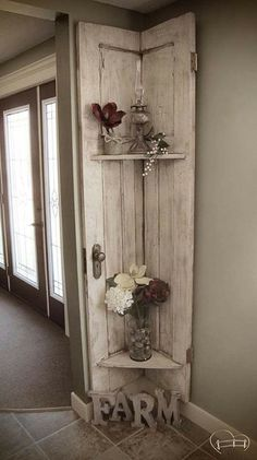 Love this shelf made from old door!