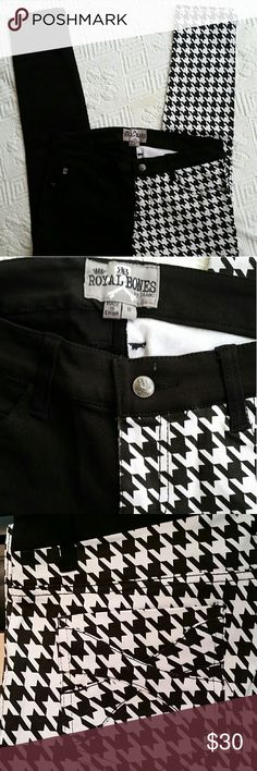 ROYAL BONES by TRIPP NYC ROYAL BONES BY TRIPP NYC  Split Leg Skinny Jeans, solid black one side, black geometric pattern over white on other side. 5pkt  styling with royal bones grommets.  Back pocket design. 32 in long royal bones by DAANG GOODMAN  Jeans Skinny