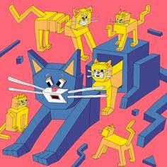 """""""Square Cats""""Wakana Yamazaki"""