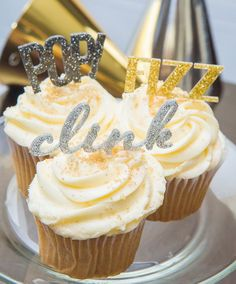 "These New Years Eve party cupcake toppers are so cute and such a fun addition to your party decor! The say ""POP! FIZZ CLINK"" and are made in beautiful glitter! You get a variety of 3 words (4 of each"