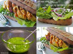 Kyllingsandwich med gratinert saus og hjemmelaget pesto Pesto, Dips, Tacos, Dressing, Ethnic Recipes, Food, Sauces, Meal, Dipping Sauces